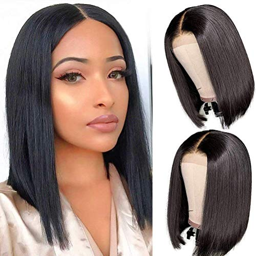 14Inch Short Bob Wigs Human Hair Lace Closure Wigs Brazilian Virgin Human Hair Straight Bob lace Front Wigs For Black Women Pre Plucked with Baby Hair Natural Black