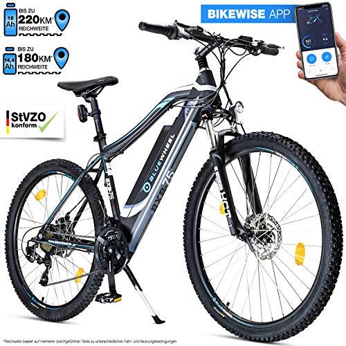 Bluewheel 27,5 Zoll innovatives E-Bike 16Ah -Deutsche Qualitätsmarke- EU-konformes Pedelec mit App, 250W Motor, Lithium-Ionen-Akku Elektro-Fahrrad BXB75 mit Shimano 21 Gang-Schaltung, Alu Rahmen E-MTB