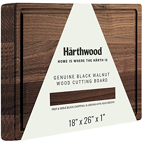 """Härthwood Walnut Wood Cutting Board with Juice Groove(18""""x26""""x1.5"""")   Genuine North American Black Walnut Prep & Serve Chopping & Carving   Made in USA"""