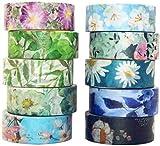 YUBX Washi Tape Set cinta adhesiva decorativa Washi Glitter Adhesivo de Cinta Decorativa para DIY Crafts Scrapbooking (Cold Tone)
