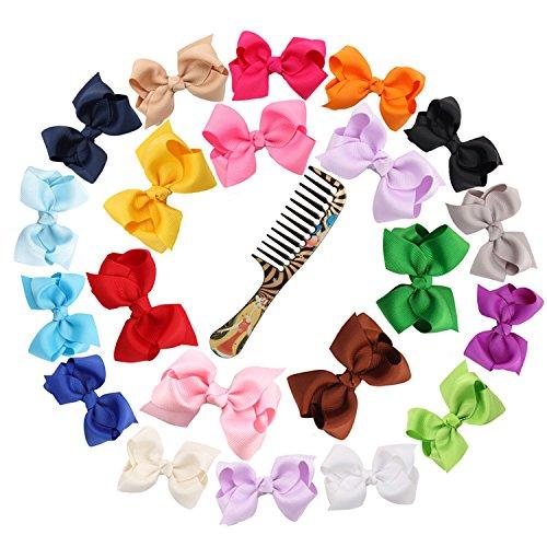"""Ambielly 3"""" archi del nastro con le clip di capelli del bambino archi arco nodo Ties (20 Rib con le bollicine 3"""")"""