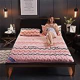 RZH Alfombrilla de Tatami para Dormir, Futón Transpirable Colchón de Tatami Pad Soft Thick para Estudiante Colchón Dormitorio,Rosado,90X200CM