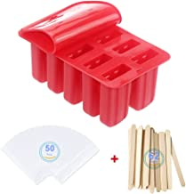 iLoveGarden Popsicle Molds Food Grade Silicone Frozen Ice Cream Maker with 50 Wooden Sticks 50 Clear Ice Pop Plasctic Bags...