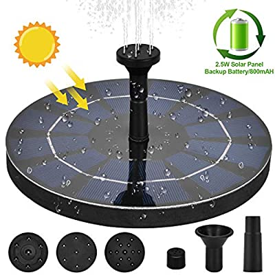 YHRJCE 2.5W Battery Backup Solar Fountain Pump, with Solar Water Pump Floating Fountain Kit for Bird Bath Free Standing Solar Water Pump for Aquarium, Pond, Pool, Garden, Outdoor