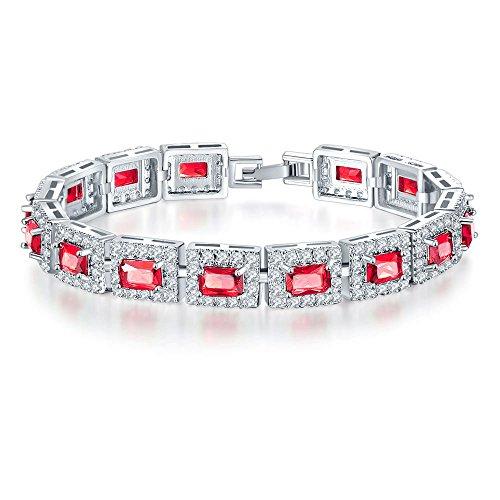 Yazilind Frauen Armband Platin überzogene westlichen Stil eingelegten zirkon armreif für Hochzeit schmuck (rot)