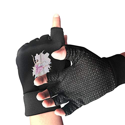 LI-YULU Beautiful Ballerina Eiffel Tower Unisex Half Finger Gloves Anti Slip Shock Absorbing Sports Gloves for Cycling,Biking,Climbing,Skating