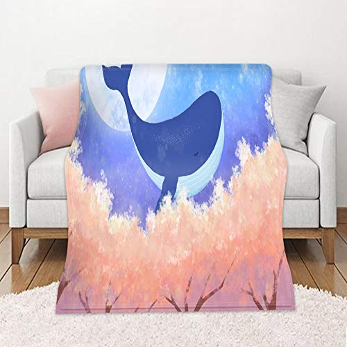 Fansu Fleece Throw Blanket, Kids Adults Microfiber Soft Warm Fluffy Lightweight 3D Printed Flannel Blankets Bed Sofa Blanket Bedspread for Bedroom Sleeping and Camping (Whale 9,150x200cm)