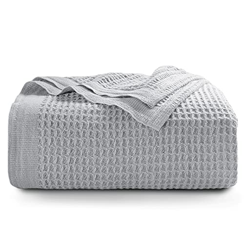 BEDSURE Sofa Throw Blanket Grey - Cotton Waffle throws for Sofa, Armchair, Bed and Couch, Single, 130x150cm