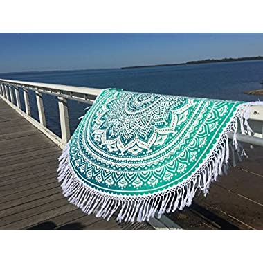 Popular Round Tapestry ombre Mandala Round Roundie Beach Throw Indian Tapestry Hippie Décor urban tapestry round table cloth 70  with cotton tassel