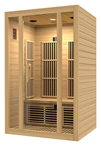 Maxxus Saunas MX-J206-01 Seattle Carbon Far Infrared Sauna for 2 Persons, Hemlock Wood