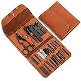 Regalos para hombres/mujeres, set de manicura de acero inoxidable con estuche de cuero PU, herramienta de cuidado personal (marrón)