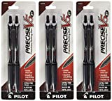 Pilot Precise V5 RT Retractable Rolling Ball Pens, Extra Fine Point, Black Ink, 6 Pens