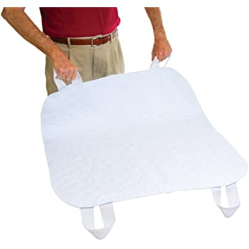 """Essential Medical Supply Quik-Sorb 34"""" x 35"""" Brushed Polyester Reusable Underpad with Nylon Positioning Straps"""