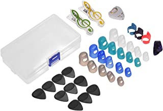 Muslady Guitar Accessories Kit Includes 20pcs Silicone Guitar Finger Protectors + 10pcs Guitar Picks + 4pcs Thumb & Finger Picks + Pick Holder + 2pcs Music Page Clips with Plastic Storage Box