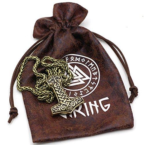 Klassischen Viking Odin Gesicht mit zwei Viking Wölfe Amulett Thors Hammer Anhänger Halskette Mjölnir Steampunk skandinavischen heidnischen Fenrir Nordic - Edelstahl Kette Bronze