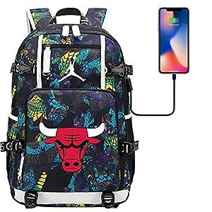 51O7CQMN1ML. SS300  - GXB NBA Basketball Star Michael Jordan Multifunctional Rucksack Menaya Sports Backpack Fan Schoolbag Estilo A