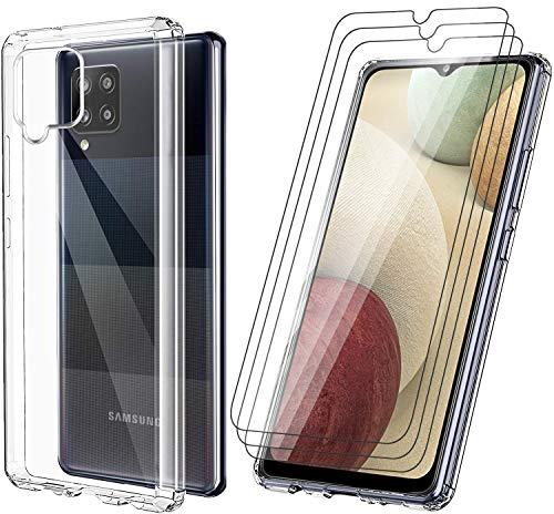 Vansdon Funda para Samsung Galaxy A31, [3 * Protector de Pantalla de Vidrio Templado] Parachoques Flexible con Funda de Colchón de Aire a Prueba de Golpes - Transparente
