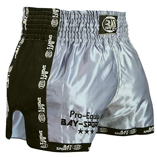 BAY® Pro-Equip Mesh Muay Thai Short (Silbergrau/schwarz, XL)