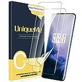 UniqueMe [3 Pack] Protector de Pantalla para Oneplus 7T Pro/Oneplus 7 Pro, película Transparente de Alta definición Burbuja de TPU Huella Digital Disponible Protector Oneplus 7T Pro