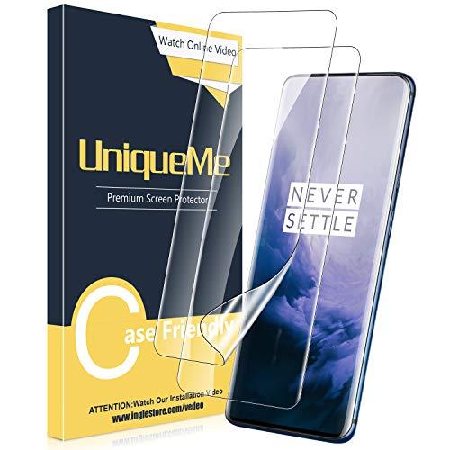 UniqueMe [3 Stück] Schutzfolie für Oneplus 7T Pro/Oneplus 7 Pro Bildschirmschutz, Blasenfrei, TPU Oneplus 7T Pro [Blasenfreie] [Anti-Kratzer] Bildschirmschutzfolie