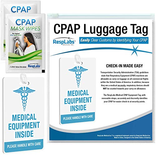 RespLabs CPAP Medical Device Luggage Tag - CPAP, BiPAP and Pap Travel Supplies. Includes 2 CPAP Travel Wipes and CPAP Comfort Hacks E-Book.