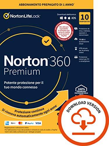 Norton 360 Premium 2021, Antivirus per 10 Dispositivi, Licenza di 1 anno con rinnovo automatico, Secure VPN e Password Manager, PC, Mac, tablet e smartphone, Codice d attivazione via Email