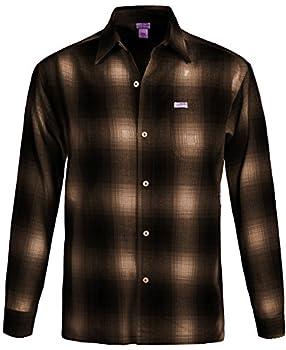 Guytalk Men s Regular-Fit Long-Sleeve Plaid Western Flannel Shirt Large Brown