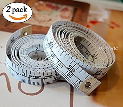 333 World 60 Inch Soft Tape Measure for Sewing Tailor Cloth Ruler Dressmaker, Double-scale Soft Body Weight Loss Medical Body Measurement Flexible Ruler Tape Measure. MADE IN GERMAN.