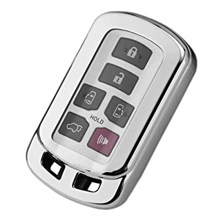 TANGSEN Smart Key Fob Case Silver TPU Protective Cover for Toyota Sienna 2011 2012 2013 2014 2015 2016 2017 2018 2019 2020 6 Button Keyless Entry Remote Control Accessories
