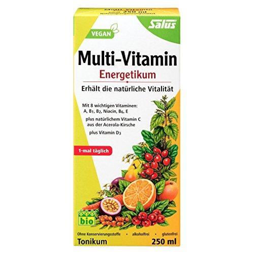 Salus Multi-Vitamin Energetikum – Tonikum zum Erhalt der natürlichen Vitalität – mit 8 wichtigen Vitaminen – vegan – 500 ml