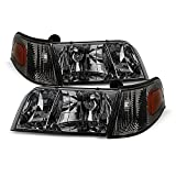ACANII - For 1998-2011 Ford Crown Victoria Smoked Lens 4pcs Headlights w/Corner Signal Lights Replacement Set Left+Right