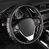 ACDelco Black/Gray Ergonomic Sports Grip Carbon Fiber Leather Steering Wheel Cover for Standard Sizes 14.5 15 15.5 (Black - Red Stitching)