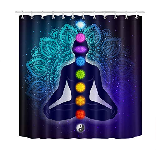 LB Seven Chakras Shower Curtain Zen Yoga Meditation Oriental Indian Mandala Bohemia Bathroom Curtain Hooks Trippy Durable Waterproof Fabric Curtains Set, 70 x 70 Inch