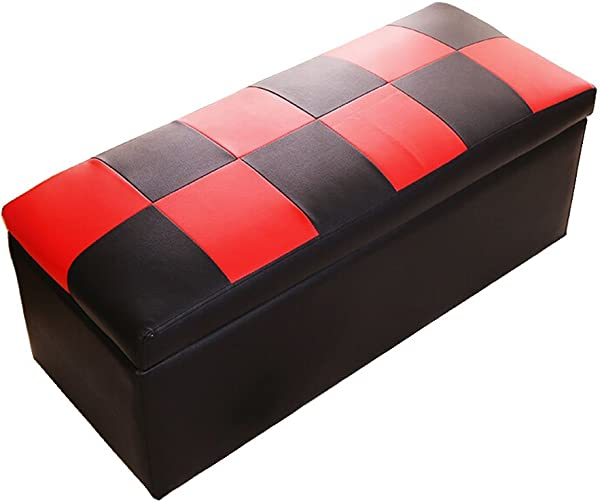 WZ Ottomans Foot Stool Ottoman Storage Chest Folding Toy Box Pouffe Lightweight Large Versatile Bench Faux Leather Three Colour Color Black