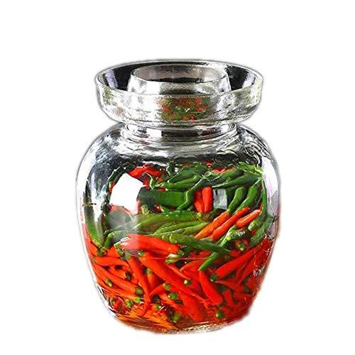 Zhenwo Kimchi Tradicional Vaso De Fermentación De Vidrio, Vaso Grande Jarras De Almacenamiento De Capacidad, Cocina del Hogar Borrar Tarro De Alimentos,1.5l