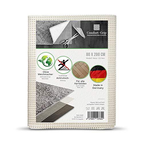 Comfort-Grip Premium Antirutsch Teppichunterlage -OHNE WEICHMACHER (80 x 200 cm, Haftgitter-Natur)