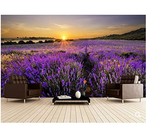 Mkkwp Benutzerdefinierte Natur Wandbilder, Sonnenuntergang Über Lavendelfeld, 3D Fototapete Für Wohnzimmer Schlafzimmer Tv Hintergrund Geprägt Tapete-300Cmx210Cm