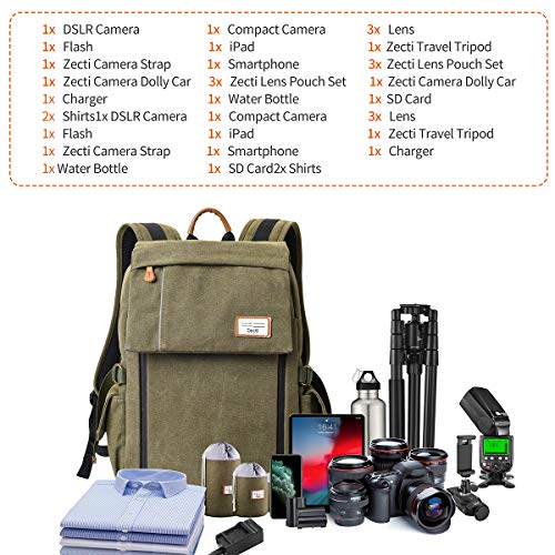 Camera Backpack, Zecti Waterproof Large Canvas Camera Bag Professional DSLR Camera...