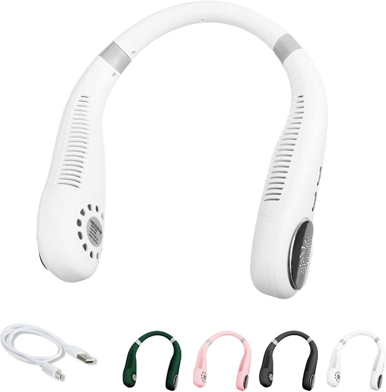 MAZAL Portable Neck Fan, Hands Free Bladeless Fan, Wearable Personal Fan, Leafless, Rechargeable, Headphone Design, USB Powered Desk Fan,3 Speeds-Dark White, Personal Neck Fan, Cooling Fan (white)