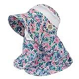 丸和貿易 ガーデニング帽子 ネックガード フラワー ピンク レディースフリー 1003824-02