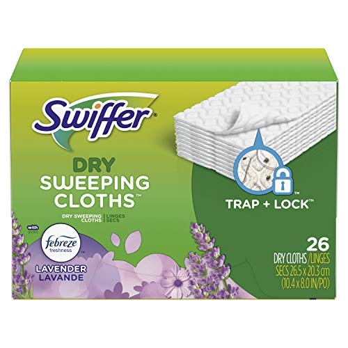 Swiffer Sweeper Dry Sweeping Pad, Multi Surface Refills for Dusters Floor Mop with Febreze Lavender Scent, pack of two, 52 count total