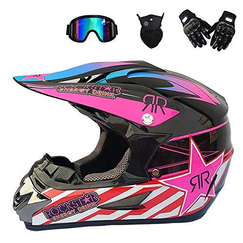 JCLDG Sicherheit Kinder Motocross Helm MX BMX Quad ATV Adult Off-Road Motorradhelm Motorrad + Handschuhe + Brille + Maske Crosshelm Fullface Helm für Erwachsene Damen Herren,Rosa,L
