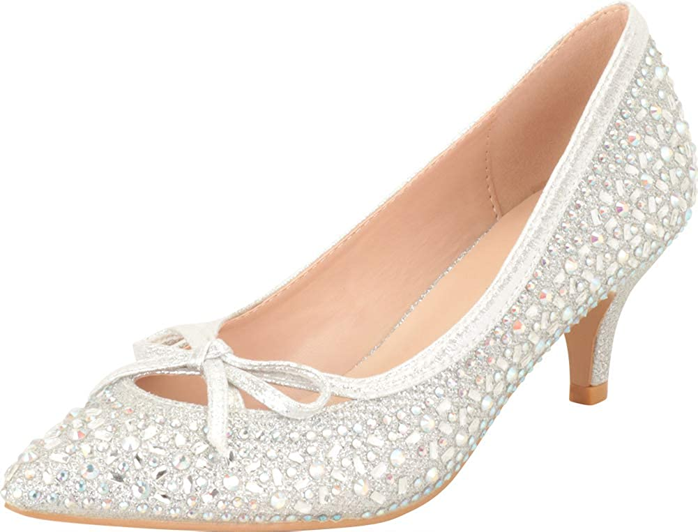 1950s Style Shoes   Heels, Flats, Boots Cambridge Select Womens Pointed Toe Bow Crystal Rhinestone Mid Kitten Heel Pump  AT vintagedancer.com