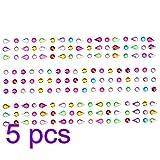Toyvian Pegatina de Diamantes de Imitacin autoadhesiva Bling Face Gems Face Stickers Craft Jewels Crystal Pegatinas de Gemas Nail Crafts Festival Carnival 5pcs (Gota de Agua)