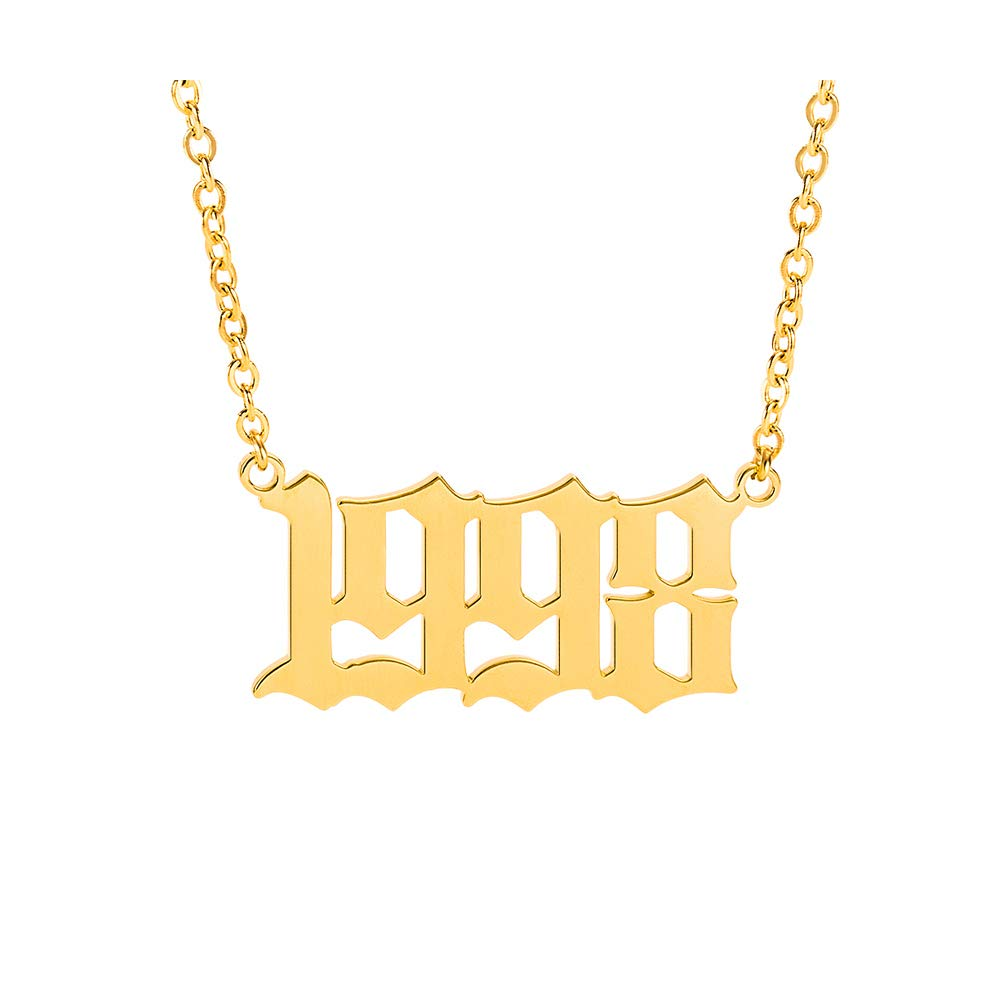 1985-2020 Crazy Feng Birth Year Necklace Gold Number Necklace Stainless Steel 14K Gold Year Necklace Old English Necklace for Women Teen Girls Friendship Jewelry Gift 14.2+2.7
