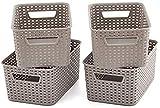 A-Generic 4 Piezas de Caja de Almacenamiento Cesta de baño con Tapas y vides - 28 x 18.5 x 13 cm Gray-28x18.5 x13cm / sin Tapa