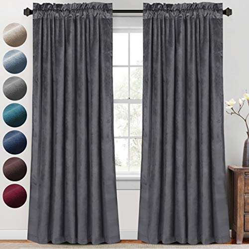 PrinceDeco Luxury Velvet Curtains Blackout for Living Room 2 Panels 84 Inches Thick Soft Smooth Room Darkening Decorative Curtain Draperies for Bedroom Windows Rod Pocket (52 x 84 Inch, Grey)