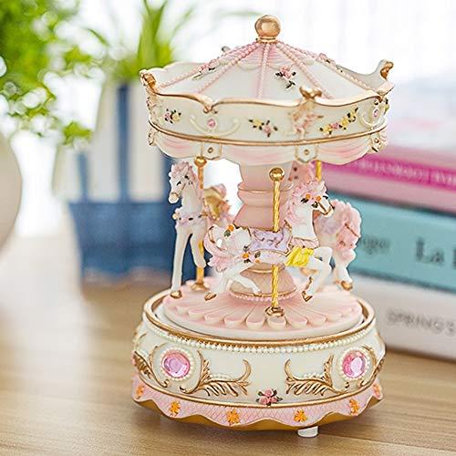 Xiaojie Rotación romántica de lujo carrusel decoración del día de San Valentín resina reloj de boda dispositivo caja de música para niños luz LED hogar (color: rosa)