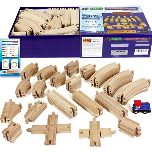 Tiny Conductors 67 Piece Wooden Train Track Set with Train Car, 100% Real Wood, Compatible with Thomas and All Other Major Brands Wooden Toy Railroad Sets (67-Piece)