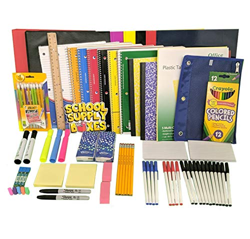 Ultimate High School and College Back to School Essentials Kit - Includes Notebooks, Folders, 1' Binder, Tab Dividers, #2 Mechanical Pencils, Index Cards, Highlighters, 24 Pens, Tissues, and More